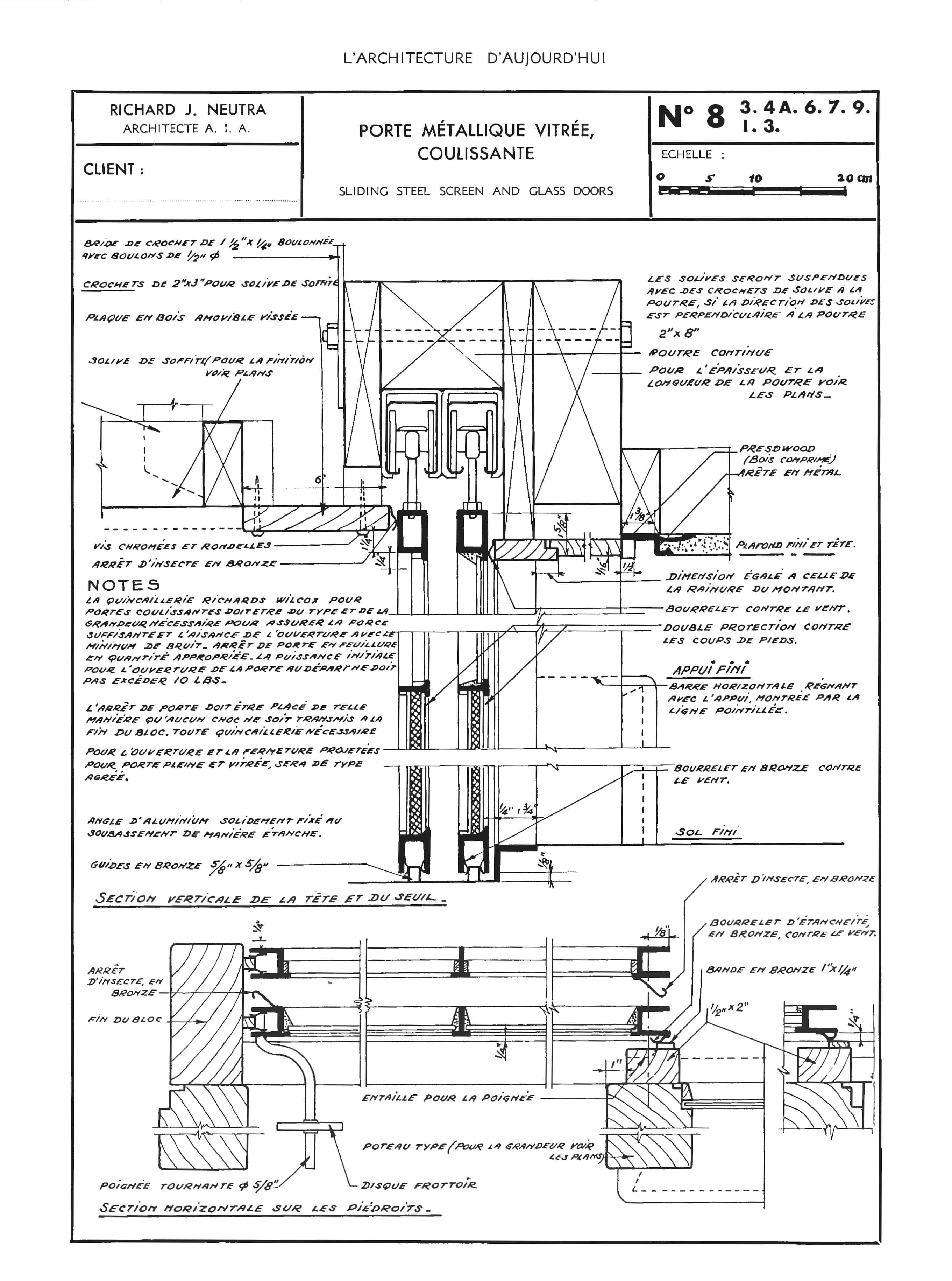 Technical Details Of Richard Neutra S Sliding Steel And Glass Doors Published In L Architecture D Aujourd Hui 6 Mai Juin 1946